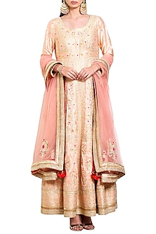 Neutral Peach Embroidered Anarkali Set by Shyam Narayan Prasad
