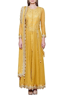 Mustard Yellow Embroidered Anarkali Set by Shyam Narayan Prasad