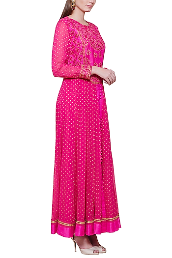 Emerald Pink Embroidered Anarkali Set by Shyam Narayan Prasad
