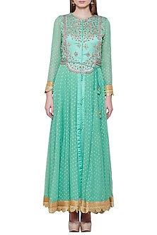 Sea Green Embroidered Anarkali Set by Shyam Narayan Prasad