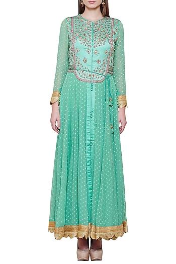 Sea Green Embroidered Anarkali Set by Shyam Narayan Prasad