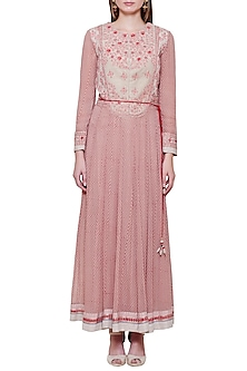 Powder Pink Embroidered Anarkali Set by Shyam Narayan Prasad