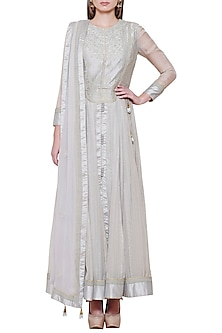 Silver Grey Embroidered Anarkali Set by Shyam Narayan Prasad