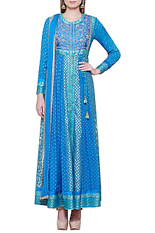 Emerald Blue Embroidered Anarkali Set by Shyam Narayan Prasad