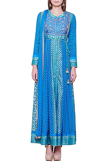 Emerald Blue Embroidered Anarkali Set by Shyam Narayan Prasad