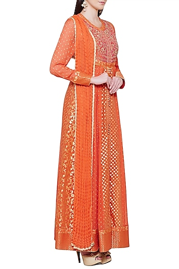 Burnt Orange Embroidered Anarkali Set by Shyam Narayan Prasad