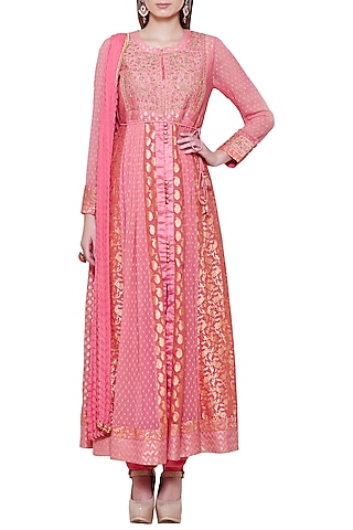 Coral Pink Embroidered Anarkali Set by Shyam Narayan Prasad