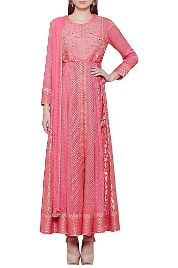 Dark Coral Pink Embroidered Anarkali Set by Shyam Narayan Prasad