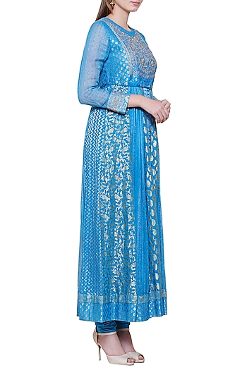 Smoke Blue Embroidered Anarkali Set by Shyam Narayan Prasad