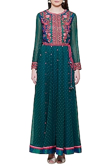 Teal Pink Embroidered Anarkali Set by Shyam Narayan Prasad