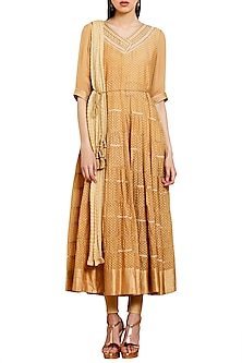 Light Brown Embroidered Kurta Set by Shyam Narayan Prasad