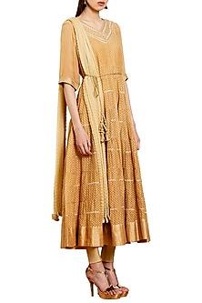 Light Brown Embroidered Kurta Set by Shyam Narayan Prasad