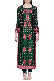 Emerald Green and Pink Embroidered Kurta Set by Shyam Narayan Prasad