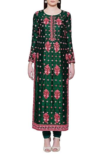 Emerald Green and Pink Embroidered Kurta Set by Shyam Narayan Prasad