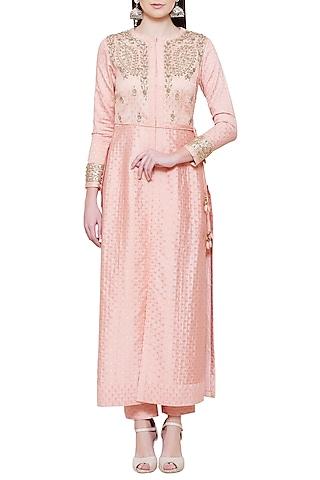 Pink Embroidered Kurta with Pants by Shyam Narayan Prasad