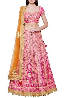 Emerald Pink Embroidered Lehenga Set by Shyam Narayan Prasad