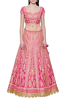Emerald Pink Embroidered Lehenga Set by Shyam Narayan Prasad
