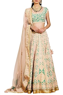 Peach and Green Embroidered Lehenga Set by Shyam Narayan Prasad