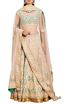 Peach and Green Embroidered Lehenga Set by Shyam Narayan Prasad