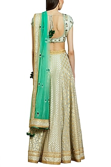 Silver Grey Embroidered Lehenga Set by Shyam Narayan Prasad