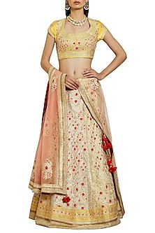Sorbet Yellow and Ivory Embroidered Lehenga Set by Shyam Narayan Prasad