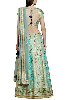 Blue and Green Embroidered Lehenga Set by Shyam Narayan Prasad