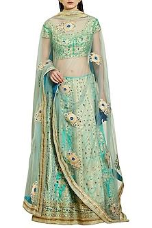 Blue and Green Embroidered Lehenga Set by Shyam Narayan Prasad