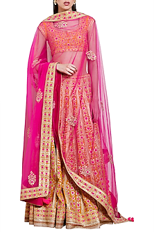 Orange and Pink Embroidered Lehenga Set by Shyam Narayan Prasad