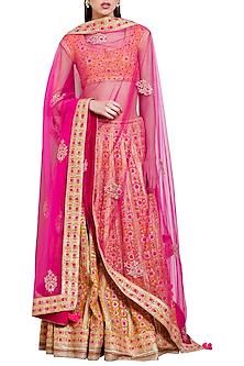 Orange and Pink Embroidered Lehenga Set by Shyam Narayan Prasad