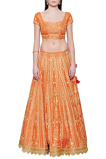 Emerald Orange Embroidered Lehenga Set by Shyam Narayan Prasad