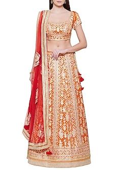 Orange Embroidered Lehenga Set by Shyam Narayan Prasad