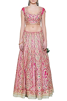 Emerald Pink and Green Embroidered Lehenga Set by Shyam Narayan Prasad