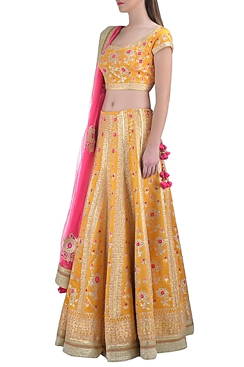 Yellow Embroidered Lehenga Set by Shyam Narayan Prasad