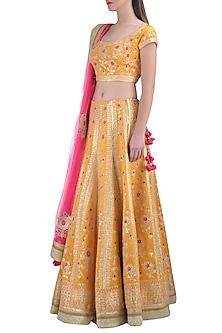 Yellow Embroidered Lehenga Set by Shyam Narayan Prasad
