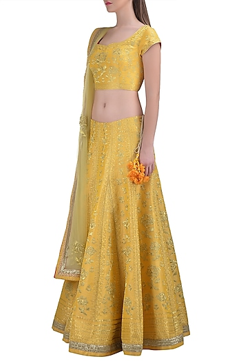 Lemon Yellow Embroidered Lehenga Set by Shyam Narayan Prasad