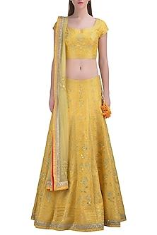 Lemon Yellow Embroidered Lehenga Set by Shyam Narayan Prasad