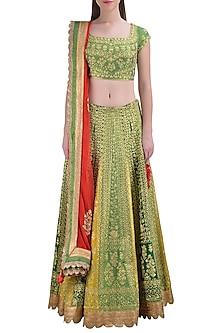Green Embroidered Lehenga Set by Shyam Narayan Prasad