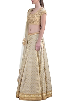 Off White Embroidered Lehenga Set by Shyam Narayan Prasad