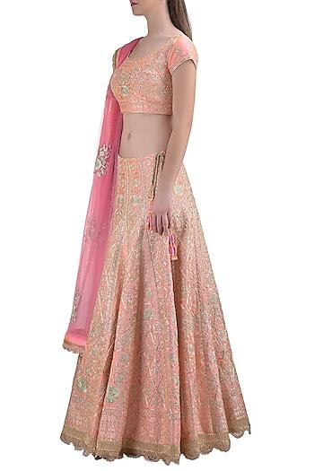 Powder Pink Embroidered Lehenga Set by Shyam Narayan Prasad