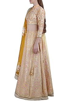 Peach Embroidered Silk Lehenga Set by Shyam Narayan Prasad