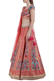 Blue and Red Embroidered Lehenga Set by Shyam Narayan Prasad