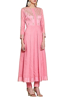 Pink Embroidered Jacket Kurta with Trousers by Shyam Narayan Prasad