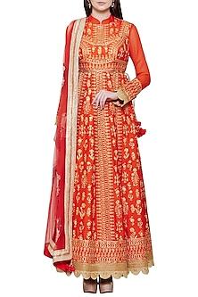 Emerald Red Embroidered Anarkali Set by Shyam Narayan Prasad