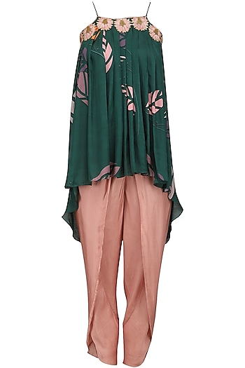 Blue Embroidered Pleated Top with Grey Dhoti Pants by Suave by Neha & Shreya
