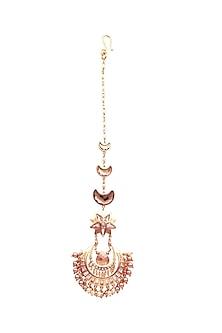 Gold Finish Navratna Maang Tikka With Swarovski & Pearls by Suneet Varma X Confluence