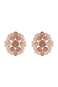 Gold Finish Stud Earrings With Swarovski by Suneet Varma X Confluence