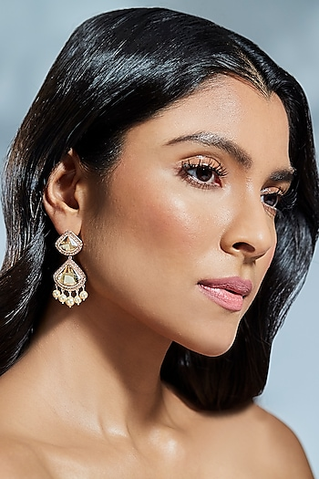 Gold Finish Celestial Earrings With Swarovski & Pearls by Suneet Varma X Confluence