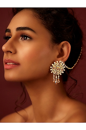Gold Finish Circular Earrings With Swarovski & Pearls by Suneet Varma X Confluence