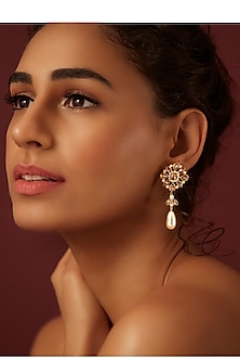 Gold Finish Drop Earrings With Swarovski & Pearls by Suneet Varma X Confluence