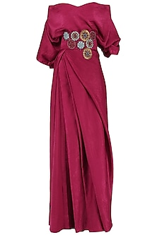 Deep Red Embroidered Off Shoulder Drape Maxi Dress by Suman Nathwani